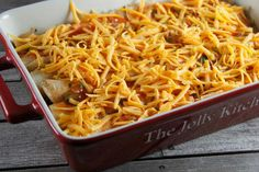 This is truly one of the easiest casseroles you can make; after combining lots of flavorful Tex-Mex ingredients like tortilla chips, green chili peppers, and sour cream, top the casserole with shredded cheese and bake until bubbly and delicious.