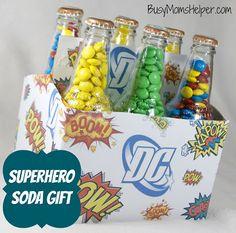 Superhero Soda Gift with Free Printables via @Danielle {Busy Mom's Helper}