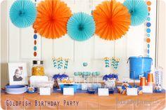birthday parties, 1st birthday, first birthdays, goldfish parti, pom pom