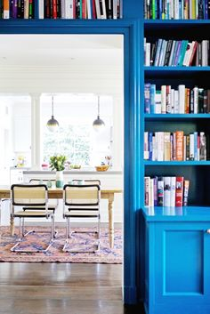 5 Insider Tips for Using a Bold Wall Color// blue library, hicks pendant