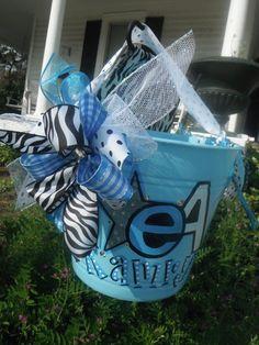 CHEER, camp, hand painted bucket.....wine bucket, gift basket, teacher gift, great graduation gift, wedding or bridal gifts .... $26.00, via Etsy.