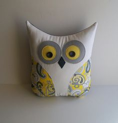 decorative owl pillow grey white yellow by whimsysweetwhimsy, $24.50