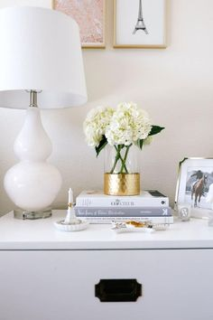 blush pink apartment, apartment bedroom decor, nightstand decor, apartment decorating on a budget, first apartment decorating, campaign nightstand | Blush pink and grey home decor featured by top Dallas life and style blog, Never Without Lipstick