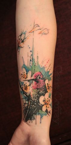 watercolour tattoo, bird tattoo