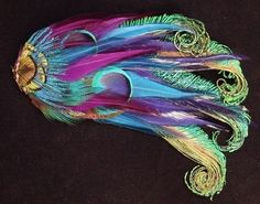 Peacock Hair Clip with Purple Blue and Turquoise by wildspirits, $38.00