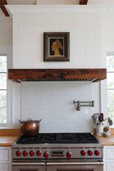 range and range hood wood trim, stove, contemporary kitchens, kitchen hood, range hoods, subway tiles, rang hood, design, wood beams