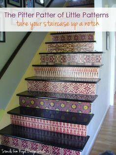 stencil pattern, idea, craft, tiles, basement stairs