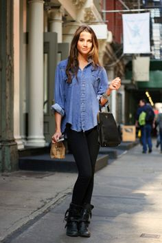 Really into the denim shirt, leggings, and combat boots look.