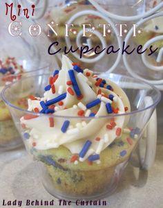 Cupcakes mini confetti, cupcakes, cake mix recipes, food, confetti cupcak, minis, juli, 4th, parti