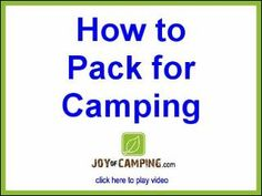 packing for camping - plus links to other camping ideas