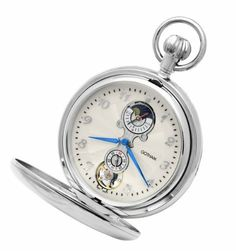"""Gotham Men's Silver-Tone Mechanical Pocket Watch with Desktop Stand # GWC14053S-ST Gotham. $99.95. Includes matching 15"""" curb pocket watch chain with spring ring attachment plus solid brass desk top stand. Rich white dial with blue cobalt hands and applied Arabic numbers. Arrives in beautiful presentation box with Selvyt polishing cloth, lifetime limited warranty and operating instructions. Classic and elegant silver-tone 17 jewel mechanical chrome finish see thru front cover..."""