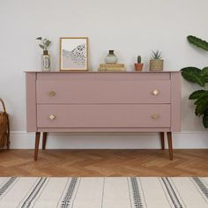 Sulking room pink by farrow and ball on a midcentury modern cabinet upcycle. Image Credit: Elizabeth Dot Design