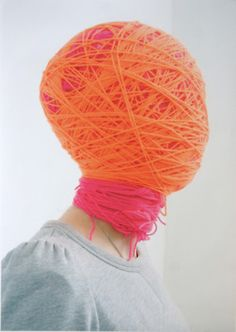 @Katharena Rentumis omg forget doing the bottles! we'll just do this to the guests! head wraps, halloween costume ideas, orang, halloween costumes, art, mask, neon colors, yarn, portrait