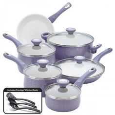 Grace the stove top with Farberware New Traditions Speckled Aluminum Nonstick 14-Piece Cookware Set, available at the Food Network Store.