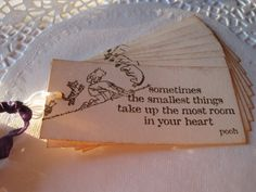 Handmade Classic Pooh Gift Tags - Baby Shower or Birthday - Winnie the Pooh on Etsy, $4.25