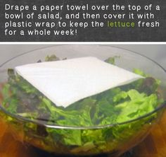 36 Kitchen Tips and Tricks That Nobody Told You About - paper towel over a bowl of salad then cover with plastic wrap to keep salad fresh for a week