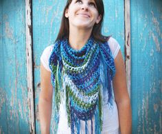 "Gleeful Things made the fringe scarf from ""The Crochet Boutique"". She made hers with a sport weight yarn. I like how it turned out!! triangl fring, fring scarf, crochet boutiqu, classic yarn, blog, crochet patterns, scarv, crochet scarfs, beauti color"