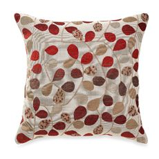 "Bayberry Rouge 20"" Square Toss Pillow $24.99    Calling upon the rich color palette of fall, this beautiful toss pillow features a background of beige with a woven leaf design in rust, taupe, brown and brick red. The reverse is a solid faux suede. Measures 20"" square. 100% polyester with 100% polyester fill. Spot clean only. Made in the USA of imported materials."