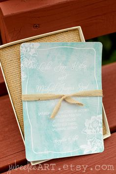 Rustic abstract mint watercolor wedding or shower invitation with customizable text. #weddinginvitations #mintwedding