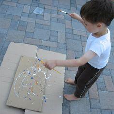 50 outside activities for kids plainting like jackson pollock
