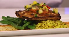 A Taste of the Islands at Shutters Restaurant at Disney's Caribbean Beach Resort - Jerk-Seared Mahi-Mahi with Ancho BBQ sauce, Tropical Salsa, Caribbean Rice & Green Beans