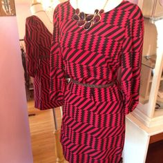 Outfit of the Day: 2 Hearts printed dress with a braided belt and teardrop statement necklace. Wear this look as is while it's warm then pair it with tights and boots as the weather cools!
