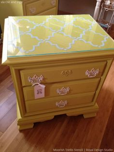 Update and upcycle thrift furniture with stencil patterns for fun furniture decor from Royal Design Studio stencil patterns, design studios, stencil magic