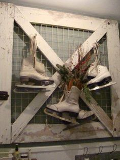 gate with old ice skates hung on it