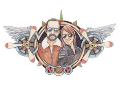Custom Wedding Illustration/Family Crest. Here is the crest I created for  Nick and Kelsey (who are both pilots).