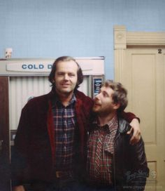 Never-before-published photo of actor Jack Nicholson and Grip Dennis Lewis on the Staff Wing set of The Shining.  (photo courtesy Prop Store)