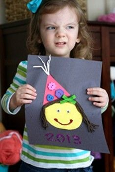 party hat craft - also an idea for the year end scrapbook: the kids will make themselves on their bday and it can hang on a bday board. At the end of the year it goes in to their scrapbook keepsake - make a little bday poem to go underneath? Things I love? Things I want to? Etc.