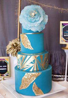Teal & Gold Cake