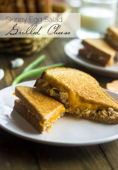 Skinny Egg Salad Grilled Cheese - Two of the best comfort foods come together, and it's healthy! | Foodfaithfitness.com | #grilledcheese #recipe #eggsalad