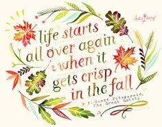 season, autumn, fall, motivation quotes, f scott fitzgerald, travel tips, kati daisi, inspiration quotes, print