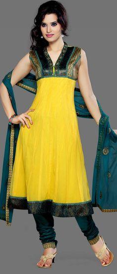 Bright Yellow Net Salwar Kameez -Utsav