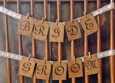 Bride and Groom Chair Signs - Rustic Wedding Banner - Vintage Wedding Banner. $25.00, via Etsy.
