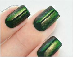 beetle-inspired nails w.orly 'enchanted forest' + ludurana 'admiráve' (underwater shot)