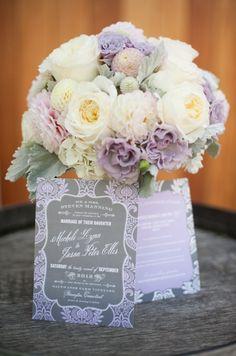 ramo de novia en color lila pastel