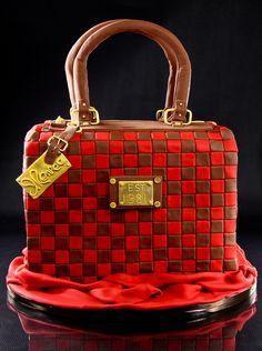 Luggage turned purse cake by Kalli Cakes, via Flickr Purs Cake, Handbag Cakes, Designer Handbags, Red Velvet, Purse Cakes, Creativ Cake, Cake Designs, Purses, Birthday Girl Parties