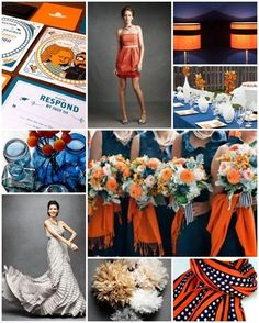 Navy dresses. Mostly blue, with orange accents