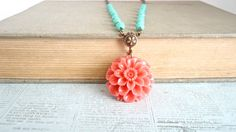 Coral Dahlia Flower Pendant Green Turquoise by daydreamjewels,