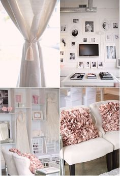 Love all the pastels and white space.  It looks fresh for a studio space.