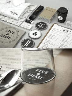Amazing, full restaurant branding for Five & Dine. Think about branding, all the way down to the details.