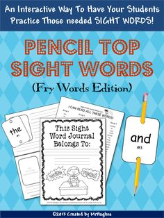 If you are tired of trying to get your kiddos to memorize their sight words, then this is your answer! Pencil Top Sight Words will have your students begging to learn their sight words. Fry's first 100 words included. ($)
