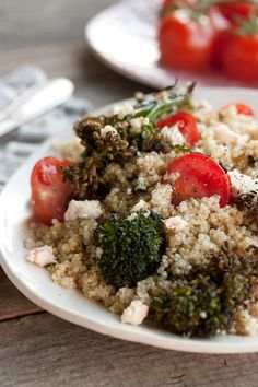 Tomato and roasted broccoli quinoa. Yum. Nice to find another warm quinoa dish.