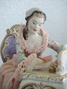 "Irish Dresden Figurine ""The Love Letter"" Hand Painted w Lace Beautiful | eBay"
