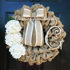 Beautiful Burlap Wreath with White by CharmingDoorDesigns on Etsy
