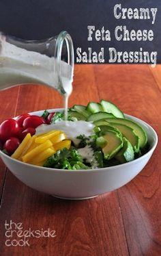 A little bit lighter, a whole lot of flavor: Creamy Feta Salad Dressing feta cheese salad, feta salad dressing, salad diet, creamy salad dressings