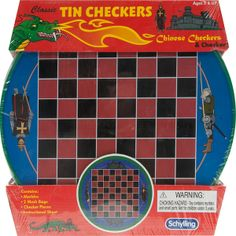 "A large flat metal tin w/ regular and ""chinese"" checker boards; the marbles and checkers were stored inside the tin."