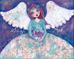 Suzi Blu Fight Like a Girl Mixed Media Giclee Print by by SuziBlu whimsic draw, mixed media, fantast artist, whimsic face, mix media, suzi blu, girl art